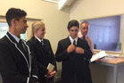 Wanganui Collegiate students Paurini Taylor, Emma Ractliffe and Jimmy James Duncan with teacher Grant Muirhead at the agribusiness programme. Photo/Supplied