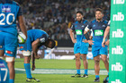 Blues players Jerome Kaino, George Moala and Augustine Pulu react at the final whistle. Photo / Brett Phibbs
