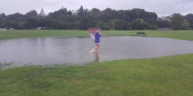 11 year old Yasmin Robertson wades across Cox's Bay park Saturday morning. Picture / Jacqui Robertson