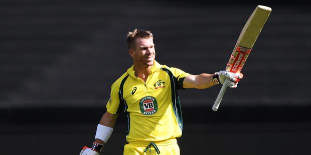 Australian opening batsman David Warner celebrates his century against Black Caps. Photo/Photosport