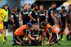 Ben Smith of the Highlanders receives medical treatment during the Super Rugby match against the Chiefs. Photo/Photosport