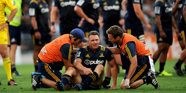 Loading Ben Smith of the Highlanders receives medical treatment during the Super Rugby match against the Chiefs. Photo/Photosport