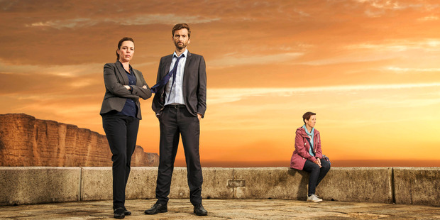 David Tennant and Olivia Colman star in Broadchurch. Photo / Supplied