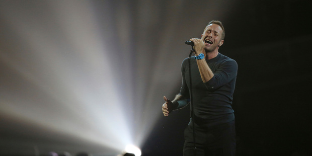 Chris Martin performs a George Michael song on stage at the Brit Awards 2017 in London on February 22. Photo / AP
