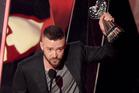 Justin Timberlake accepts the award for song of the year. Photo / AP