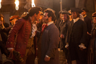 Gaston (Luke Evans) and LeFou (Josh Gad) get up close and personal in Beauty and the Beast. Photo / Supplied