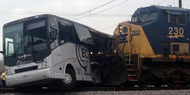 The freight train smashed into the charter bus in Biloxi, Mississippi. Photo / AP