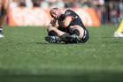 Warriors Simon Mannering suffered a neck injury during the opening game the 2017 NRL competition. Photo/Greg Bowker