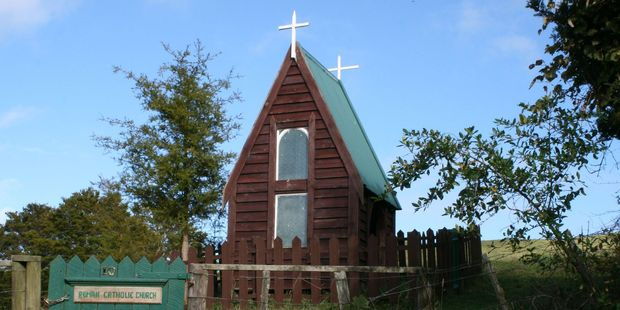 The 'smallest church in New Zealand', at Avoca, was once a porch. Photo / Jim Eagles