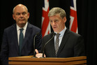 Prime Minister Bill English, right, and Finance Minister Steven Joyce, announcing the government is to raise the age for national superannuation to 67 by 2040. Photo / Mark Mitchell