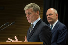 Prime Minister Bill English, left, and Finance Minister Steven Joyce, announcing the Government is to raise the age for national superannuation to 67.