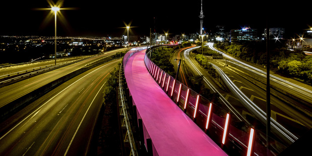 Auckland's Lightpath for cyclists and pedestrians was opened in 2015. Photo / Monk Mackenzie Architects + Landlab