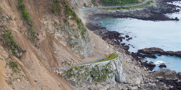 Some of the slips the earthquake caused on the picturesque coastal highway are 300 metres high. Photo / Mark Mitchell