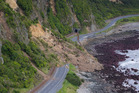 Huge slips, caused by the 7.5 earthquake, blocking State Highway One north of Kaikoura in November last year. Photo / Mark Mitchell