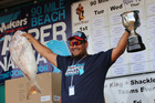 Kamo man Troy Notton won the 2015 Snapper Bonanza's top prize of $30,000 with this 8.315kg fish hooked on the last day of the contest. PHOTO / PETER DE GRAAF