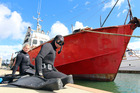 Northland Regional Council divers inspect a vessel for Mediterranean fanworm. Photo/NRC, Bill Shepherd