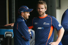Coach Mike Hesson and Kane Williamson have much to ponder ahead of the first test starting tomorrow. Photo / Getty Images