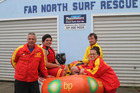 From left, Far North Rescue vice-president Tony Walker, his son Anthony, club captain Thom Anderson and his wife, lifeguard Kate Clarke. Photo/Mike Dinsdale