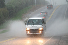 The heavy rain brought surface flooding to SH10 at Cottle Hill, south of the Kerikeri turnoff. Wild weather, 9 March 2017, Northern Advocate photo by Peter de Graaf