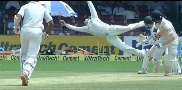 Loading Aussie captain Steve Smith takes a screamer of a catch against India on Day Three of the second test. Photo/YouTube