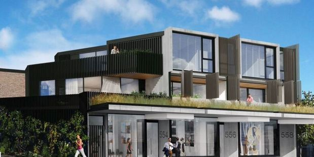 Barrington, the new 'whistling balcony' apartment block in Grey Lynn. This is an artist's impression of the block.