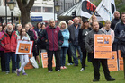 Dunedin residents protest against Mondelez International closing the Dunedin branch of Cadbury. Photo / Peter McIntosh