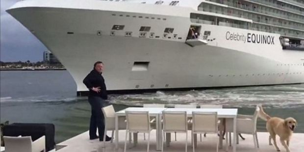 Giant cruise ship nearly hits Florida home