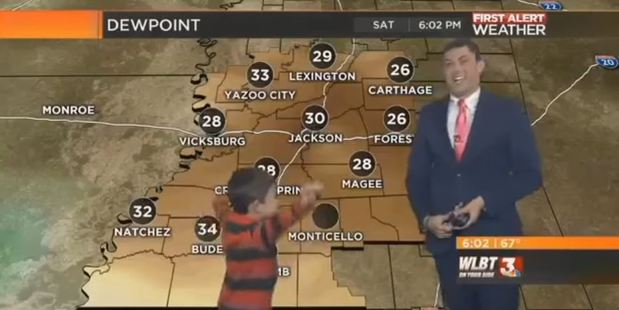 Loading A boy called Houston crashed a live weather report while producing some wind of his own.