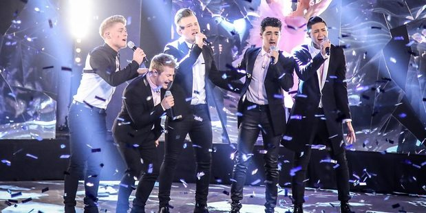 Five to Five perform Wrecking Ball by Miley Cyrus. Photo / BBC1