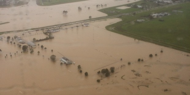 The Kauaeranga River mouth is flooded at Thames. Supplied photo /  Waikato Westpac Rescue Helicopter