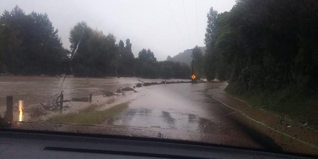 Kauaeranga Valley is flooded after heavy overnight rain. Photo / Supplied