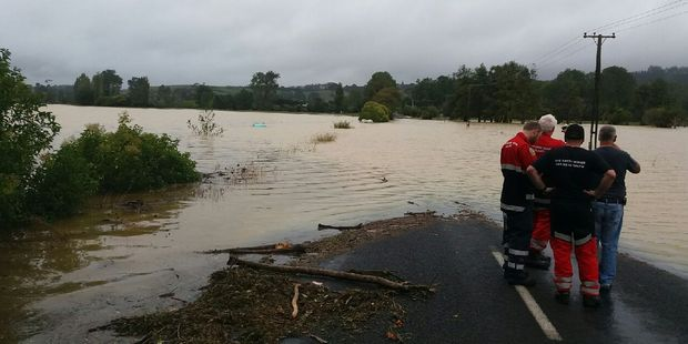 Tourist Rd in Clevedon, Auckland is under a metre of water. Photo / Auckland CDEM