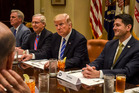 President Donald Trump meets last week with Republican leaders, including Senate Majority Leader Mitch McConnell and House Speaker Paul Ryan at the White House. Photo / Bill O'Leary