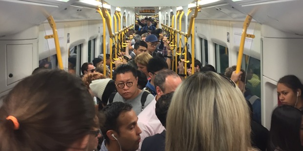 Loading Stqanding room only on board a packed Eastern Line train. Photo / Sam Hurley