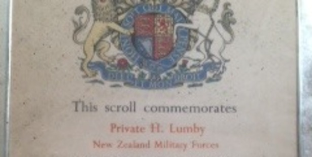 The framed scroll commends Private Lumby, who died in World War II. Photo / supplied.