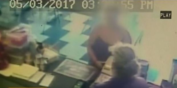 Loading CCTV footage of the backpacker talking to petrol station worker Beverley Page.