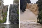 Hunua Falls before and after the deluge. Photos / Supplied