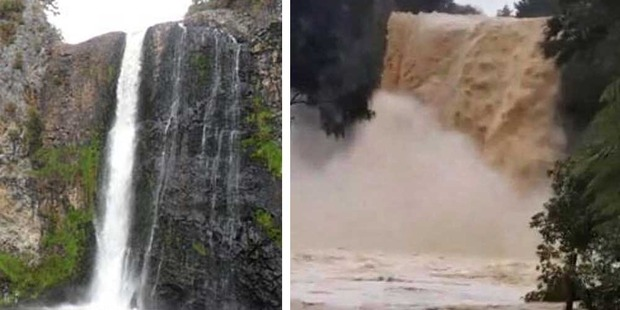 Loading Hunua Falls before and after the deluge. Photos / Supplied