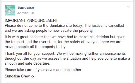Post on the Sundaise Facebook page this morning.