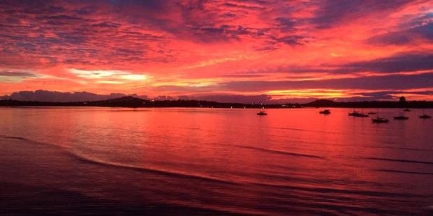 Loading Sunrise over Auckland this morning. Photo / Amelia Wade
