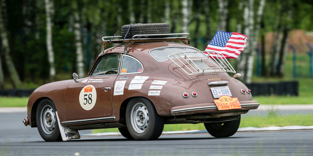The couple's 1956 Porsche 356A during the Peking to Paris Motor Challenge, a race specifically for cars made before 1975. Photo / Gerard Brown