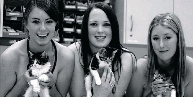 A picture from the past that makes me purr ... veterinary science students at Massey University during a photo shoot for their 2008 calendar.