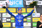 Julian Alaphilippe celebrates winning stage four of the Paris-Nice race. Photo /Getty
