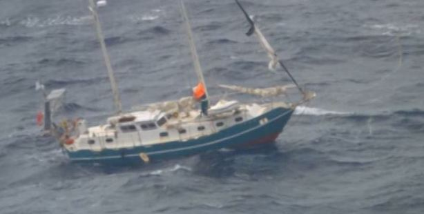 Loading The stricken yacht from which the couple were rescued from.