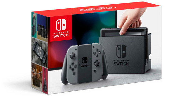 A boxed Nintendo Switch
