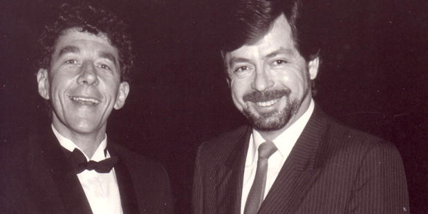 Paul Holme and Leighton Smith were some of the first voices on Newstalk 1ZB at the launch in 1987. Photo / Supplied, Leighton Smith