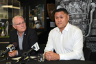 NZRL CEO Alex Hayton and Kiwis coach David Kidwell during press conference at the New Zealand Rugby League Museum. Photo/Photosport