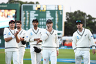 Kane Williamson leads his team from the field after defeat on Day 3 of the 2nd test. Photosport