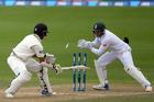 South African wicketkeeper Quinton De Kock stumps New Zealand's Jeet Raval. Photo / photosport.nz