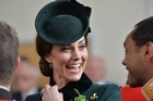 The Duchess of Cambridge accompanied her husband William for a special St Patrick's Day parade with the Irish Guards